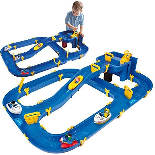 BIG - Waterplay Niagara - Wasserbahn blau, 130 x 90 x 22cm große Bahn, mit 3 Booten, Wasserflugzeug und 4 Spielfiguren, 2 Schleusen und Handkurbel zur Wasserregulierung, ab 3 Jahren