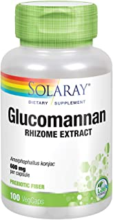 Solaray Glucomannan Rhizome Extract 600 mg | Healthy Regularity, Blood Sugar & Appetite Support | 100 Serv | 100 VegCaps