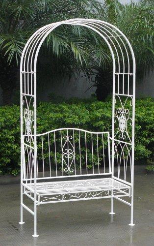 Gartenbank (schmiedeeisern, mit Torbogen, 2-Sitzer) Weiß