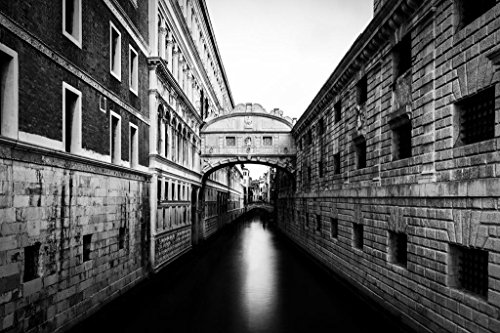 Bridge of Sighs Venice Italy Black and White B&W Photo Art Print Poster 36x24 inch