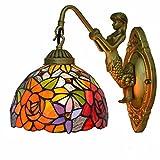 Aplique de pared Estilo de Tiffany de pared de luz, Stained Glass Shade aplique cubierta, hechos a mano vitral noche lámparas de interior apliques de pared lámpara de pared