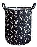 KUNRO Large Sized Storage Basket Waterproof Coating Organizer Bin Laundry Hamper for Nursery Clothes Toys (Deer)