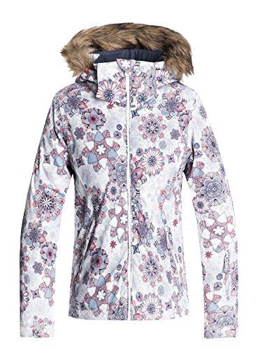 Roxy Mädchen Jet Ski Snow Jacket, Bright White-Snowflakes, 16/XXL