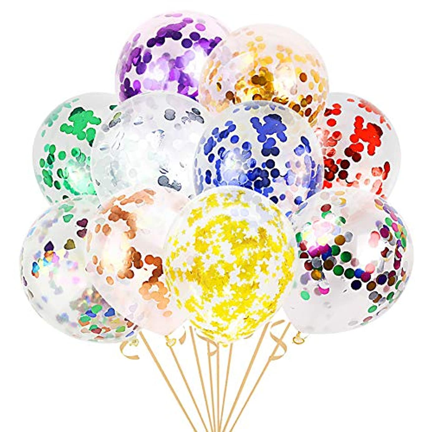 LUDEOU 50 Pcs Rich Color Confetti Balloons Premium 12 Inch Latex Balloons Birthday Baby Party Decorations xqh4748982