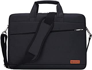 YOUBAMI Laptop Shoulder Bag for 14-15 Inch Laptop, 15 Inch MacBook Pro Touch Bar A1990 A1707, 14 inch Thinkpad Tablet, Polyester Carrying Handbag Briefcase with Back Trolley Belt, Black