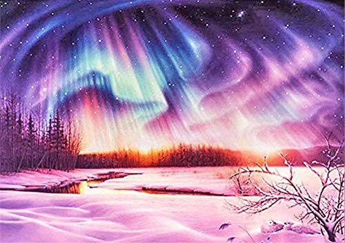 DIY 5D Diamond Painting Kits Full Drill,Crystal Rhinestone Cross Stitch Diamond Painting Adult/Kid Mosaic Embroidery Art Craft Home Wall Decor(Colorful Northern Lights 80x100cm/32x40in Round Drill)