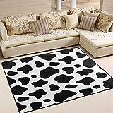 Alfombra de área lavable con estampado de leopardo de vaca, diseño especial para el hogar, base antideslizante, alfombra impresa de 182,88 x 122,92 cm