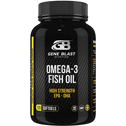 Gene Blast High Strength Pure Omega 3 Fish Oil High Levels of EPA & DHA per Serving w/ Added Natural Lemon, Purified & Distilled for Active Lifestyle, Vitality and Wellbeing 120 Softgels