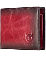 Wallets for Men Slim Bifold Vintage Genuine Leather Front Pocket Wallet with two ID Windows BKQB05 (RED)