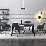 CLIPOP - Set di 4 sedie da pranzo in ecopelle per cucina, con schienale e braccioli, sedie per accoglienza e ufficio