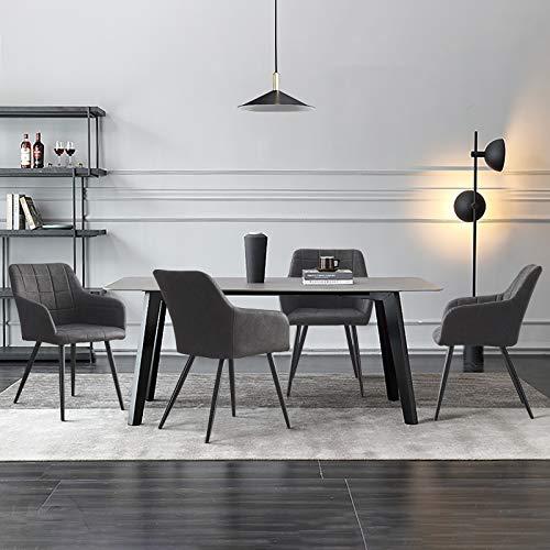 CLIPOP 4 PCS Sillas de Comedor Juego de 4 piel sintética Silla de Cocina Silla Tapizada con Reposabrazos Tapizadas, sillas de recepción para el hogar y la oficina