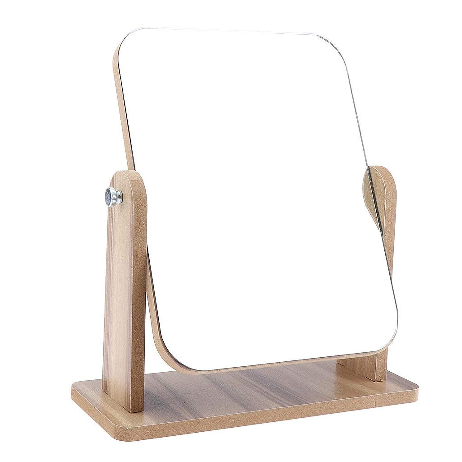 タバコ荒らす悔い改めるB Blesiya メイクアップミラー 化粧鏡 レトロ 卓上ミラー 木製ベース 旅行 2サイズ選べ - 22x17 cm