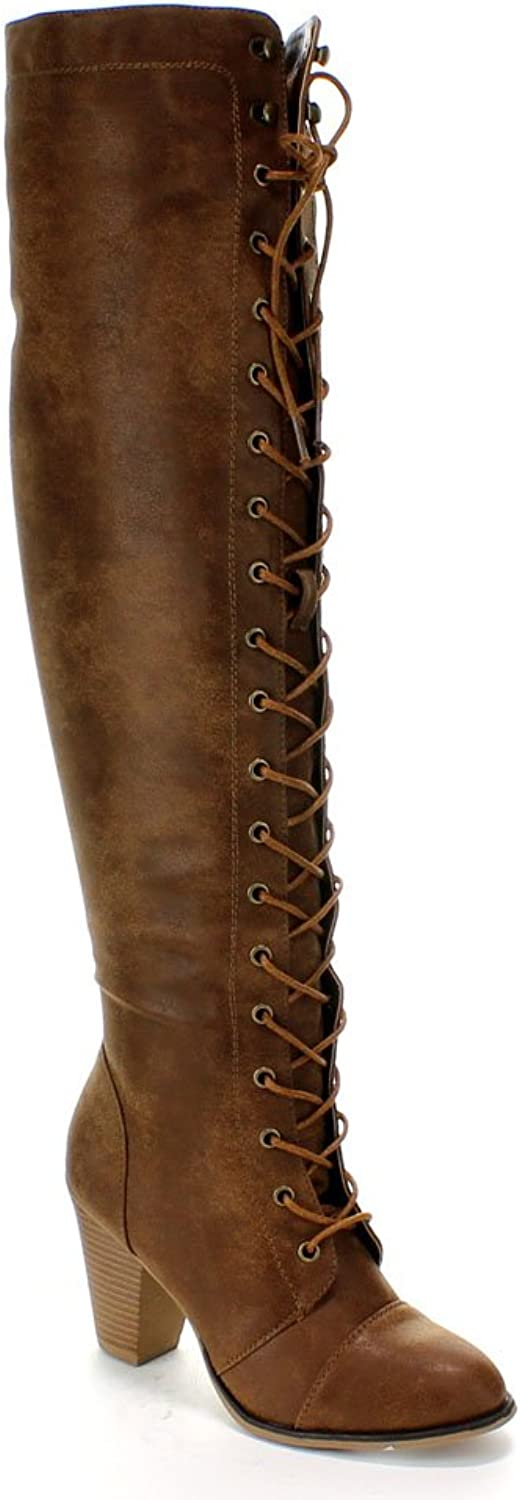 Forever Women's Camila-48 Chunky Heel Lace up Over The Knee Riding Boots