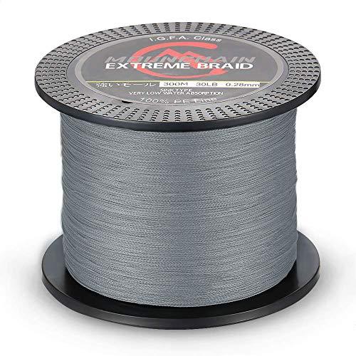 Mounchain - Sedal trenzado (500 m, 0,28 mm), color gris