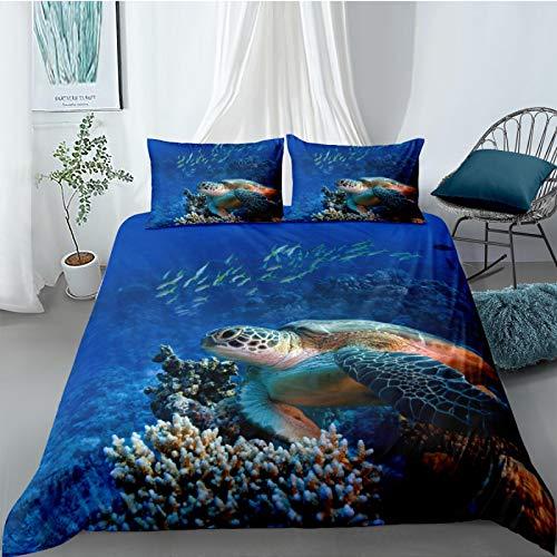 LucaSng Dekbedovertrek Beddengoed 3-Delige Set Vis schildpad zee landschap Lits Jumeaux 240x220cm Familie Slaapkamer…