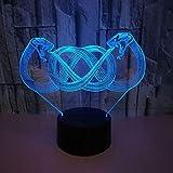 BFMBCHDJ Neue Schlange 3D Nachtlicht Bunte Touch Remote Dekoration Kreative 3D Illusion Kleine Tischlampe A3 Schwarz basis + fernbedienung