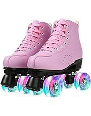 حذاء تزلج للسيدات باربع عجلات مصنوع من جلد البولي يوريثاين برقبة عالية، احذية تزلج لامعة مع حقيبة للبنات