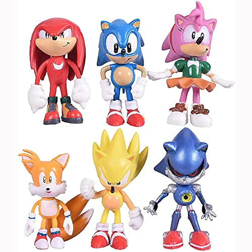 6pcs Sonic the Hedgehog cake toppers set cake decoration, Sonic figurines collection toy set for sonic birthday party supplies
