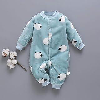 LvYaBiaoJiTuan Autumn & Winter Newborn Baby Clothes Dinosaur Print Baby Boy Romper Warm Infant Baby Boy Girl Soft Fleece Jumpsuit Pajamas