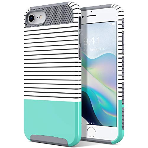 ULAK iPhone SE 2020 Hülle, iPhone 7/8 Stylische Bunte Marmor Muster Schutzhülle Dual Layer Hybrid Handyhülle Hülle Cover für iPhone 7/iPhone 8/iPhone SE 2020 4,7 Zoll - Mint