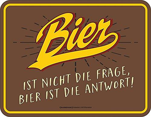 Original RAHMENLOS Blechschild für den Bierfreund: Bier ist nicht die Frage, Bier ist die Antwort!