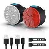 EBUYFIRE Luz Bicicleta Recargable USB, Luces Bicicleta LED Delantera y Trasera,12 Modos con Función de Memoria On/Off,IPX5 Impermeable,Luces Seguridad para Ciclismo de Montaña y Carretera