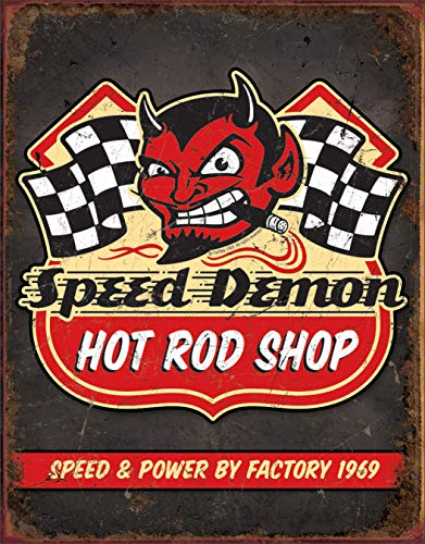 Desperate Enterprises Speed Demon Hot Rod Shop Tin Sign, 12.5' W x 16' H