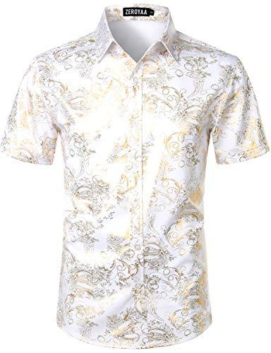 ZEROYAA Men's Luxury Paisley Shiny Stylish Slim Fit Short Sleeve Button Up Dress Shirt ZLCL23 White Gold Large