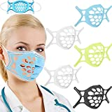 5PCS Silicone Face Bracket, Guards for Under Má-sk, 3D Face Bracket Inner Support Frame for More Breathing Space, Reusable & Washable (2White & Black & Blue & Green)
