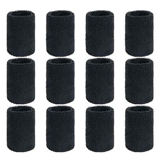 ZWOOS 12 Packung Absorbierende Schweissband für Tennis Squash Badminton Turnhalle Basketball (Schwarz)