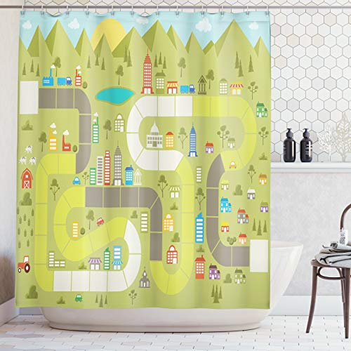 ABAKUHAUS Bordspel Douchegordijn, Gebouwen Cars Mountain, stoffen badkamerdecoratieset met haakjes, 175 x 240 cm, Veelkleurig