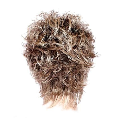 Pelucas cortas rubias de pelo marrón capa hinchada resistente al calor piezas para mujeres mujeres uso diario natural (rubio ceniza)