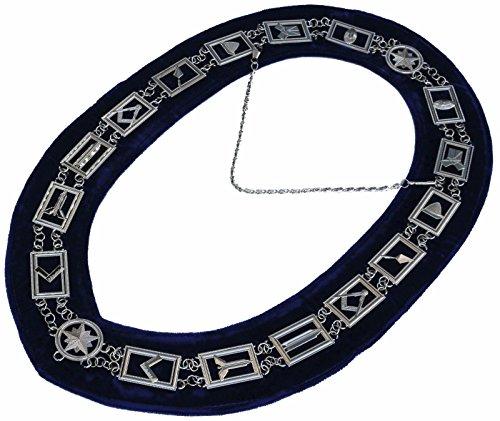 Masonic Collar Freemason Blue Lodge Master Mason Chrome Plated // Blue Back Wide Neck