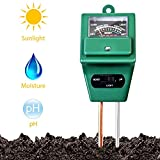 Soil PH Meter,3-in-1 Soil Moisture/Light/pH Tester,Soil Test Kit Gardening,Digital Indoor/Outdoor Soil Moist Testing Analyzer/Detector Reader for Garden,Farm,Lawns,Plants,Herbs (No Battery Needed)