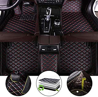 All Weather Floor Mat for 2010-2017 Land Rover Discovery 4 7-Seats Full Protection Car Accessories Black & Red 3 Piece Set