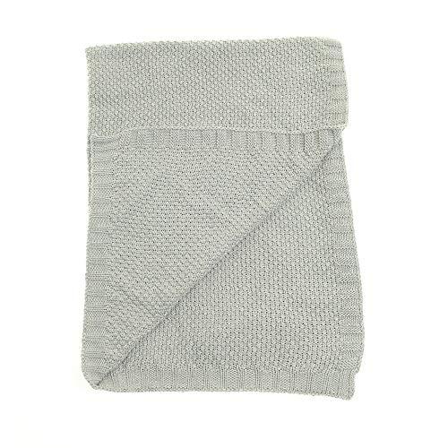 Ziggle baby omkeerbare klassieke grijze deken voor kinderkamer kinderbedje en kinderwagen, 100% gekamd katoen gebreid, perfect cadeau