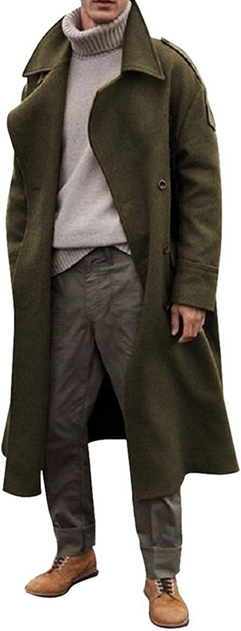 RINTONIX Men's Oversized New popularity Notched Long sold out Sin Wool Trench Blend Coat