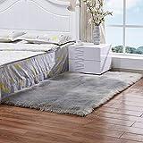 TIDWIACE Faux Lammfell Schaffell Teppich Nachahmung Wolle Wohnzimmer Teppiche Lange Fell Flauschig Weiche Schaffell Bettvorleger Matte (Grau, 60X90 cm)