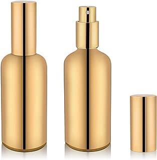 Perfume Atomizer Refillable Cologne Glass Spray Bottle - 2 PCS of 3.4oz (Gold)