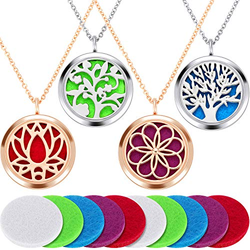 4 Pieces Aromatherapy Essential Oil Diffuser Pendant Locket Pendant Perfume Oil Jewelry Necklace with 14 Refill Pads and 24 Inch Adjustable Chain