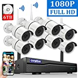 【2020 New】 Wireless Security Camera System, 8 Channel 1080P NVR with 6TB Hard Drive, 8PCS 1080P 2.0MP CCTV WI-FI IP Cameras for Homes,OHWOAI HD Surveillance Video Security System.