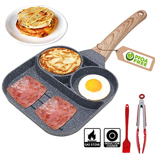 Nonstick Egg Frying Pan - 3 Section Square Grill Pan Divided Frying Pan for Breakfast,Burgers and Bacon,Suitable for Gas Stove & Induction Cooker,Safe and PFOA-Free