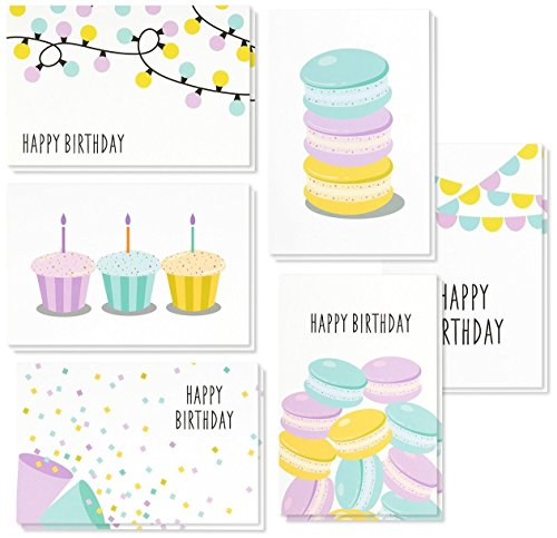 Birthday Cards Box Set � 48 Pack Happy Birthday Cards, 6 Dessert and Festive Designs, Birthday Cards Bulk, Envelopes Included, 4 x 6 Inches