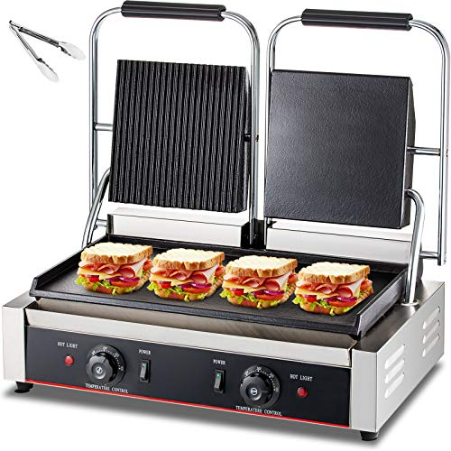 DESENNIE 110V Commercial Panini Grill, Up Grooved & Flat+ Down Flat Plates, 3600W Electric Contact...