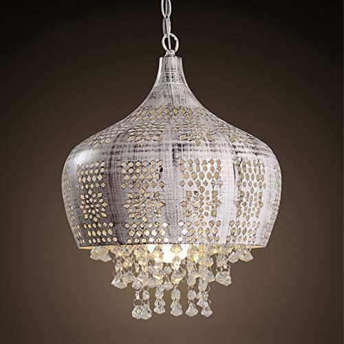 Yangmanini Araña de cristal, metal de la lámpara, la lámpara de Restaurante Bar, Pasillo hueco lámpara de hierro, la lámpara de la sala de estar, blanca de la lámpara (E27 Puerto)