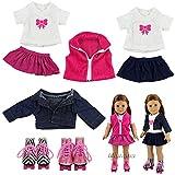 Miunana 2 Sets Kleidung & 2 Schuhe Schlittschuhe für 45-50 cm Puppe 18 Inch Doll Puppen American...