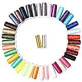 Sicai - Hilos de coser, 39unidades, poliéster, diferentes colores del arcoíris