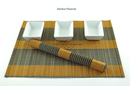 vietnamhomeware 6 Sets de Table, Sets de Table Fait Main en Bambou, Lot de 6, Brown-Black, p075