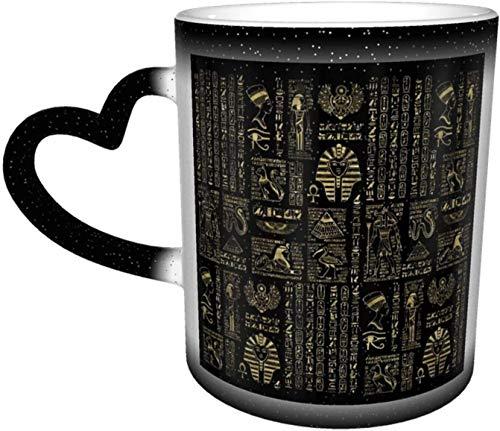 Jeroglíficos y deidades egipcias Oro sobre negro Taza sensible al calor que cambia de color en el cielo Tazas de café Taza de cerámica Regalos personalizados para familiares, amigos, amigos