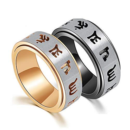 Excow Gioielli tibetani buddista sanscrito mantra titanio acciaio Spinner anello girevole incisione Om Mani Padme Hum e titanio-e-acciaio inox, 25, colore: Oro, cod. JZ004